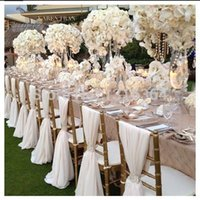 banquet furniture wholesale - Romantic Organza Wedding Party Anniversary Chair Sash Party Banquet Decorations Pieces Set Wedding Chair Sash