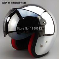 Wholesale mirror silver plating open face motorcycle motorcross helmet Casco Capacete Jet Vintage retro helmet ECE