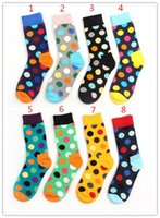Cheap Happy socks 8 styles fashion high quality men's polka dot socks men's casual cotton socks 24pcs=12pairs