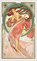 alphonse mucha portrait - Portrait Painting Alphonse Mucha art for sale Dance Canvas Hand painted High quality
