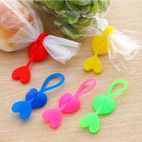 Wholesale 5 Random Color Hot Sale Eco friendly Silica Gel Sealing Clip Food Bag Bands Bobbin Bundled Winder Belt Wire