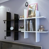 Wholesale New Home Wooden Wall Shelf Rack Display Storage Sets White Black Colors