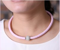 Wholesale New Multicolor Shambhala Weave Leather Czech Crystal Rhinestone Cuff Clay Magnetic Clasp Necklaces
