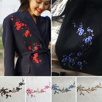 al por mayor flores de bricolaje para la ropa-Hermosa DIY del bordado de la flor del ciruelo apliques de hierro en remiendo de la ropa Etiqueta Accesorios de ropa de envío libre YR0048