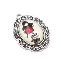 antique book stand - New Girl Standing On Book Ellipse Charms Antique Silver Flower Rattan Pendant Glass Paster Charms Pendant C10230