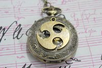antique brass clock - 10pcs Antique Brass Naruto symbol Pocket watch necklace with the clock surface pocket watch necklace