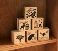 Wholesale New vintage animal series wood scrapbooking stamp Stamping gift designs Lovely forest seal