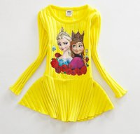 ann summers - Girls Summer Fashion Kid s Clothes Cotton Princess Girls Long Sleeve Frozen Character Elsa Ann Gauze Dress Yellow Red Blue N0215