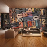 bedroom sofa set - 3D Giant Photo Wallpaper Letter Number Wall Mural Personality wallpaper Bedroom Hallway room decor Sofa TV setting wall art Home Decoration