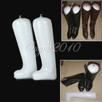 shoe stand - Best Promotion Pair White Inflatable Useful Plastic Long Boot Shoe Stand Holder Stretcher Support Shaper