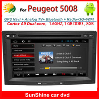 Wholesale 2 din inch Peugeot car dvd player with gps navigation Radio TV Bluetooth G WIFI touch screen car audio Android