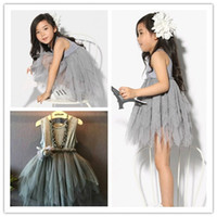 bohemian clothes - 2015 retail baby Kids Toddler Baby Girl Clothes Sleeveless Flower Tutu Dress Party Dress with bow Y