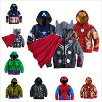 Wholesale 8style Children Hoodies JACKET BABY Boys Captain America Hoodies Jacket Avengers Hulk iron man Spider Man cosplay Kids hoodie jacket