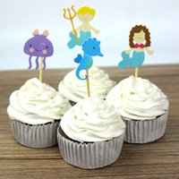 Wholesale Mermaid hippocampus Party cupcake toppers picks decoration for kids birthday party favors Decoration baby shower supplies