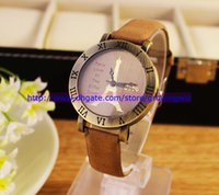 Wholesale Paris love in the Eiffel Tower Leather watch women roma quartz fashion ladies dress wrist watches for women