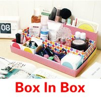 bamboo cosmetic containers - New DIY Desk Cosmetic Storage Box Container Bag Case Stuff Organizer Box In Box