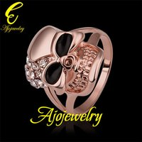 Wholesale 010 Size New Skull jewellery K Rose Gold Plated Enamel Skull Accessories Ring For Women