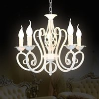 antique crystal chandelier light - Luxury Rustic Iron Crystal Chandelier Vintage Antique White Chain Pendant Lamp Home Price E14 LED Light