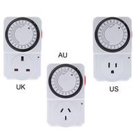 al por mayor electrical switch-24 horas Programa Enchufe programable mecánica temporizador Interruptor de alimentación Energy Saver UK / US / AU Plug orden $ 18Nadie pista