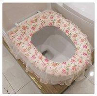 Wholesale high quality cloth toilet toilet warm cushion cover lace toilet mat