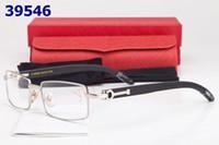 al por mayor buenas piernas-promoción 6pcs marca diseñador de gafas lente completo Marcos lentes buena pierna de madera mezclado dropship orden