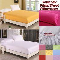 venda por atacado bedspread-Luxo cetim de seda lençol Equipado tampa de cama elástica capas de colchão capa de almofada roupas de cama colcha, lençol + fronha, lençol de borracha