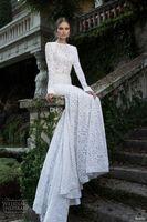 Cheap 2015 Berta Bridal Wedding Dresses Mermaid Lace Bateau Long Illusion Sleeves Chapel Train Backless White Wedding Dresses Gowns Appliques