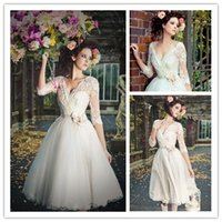 tea length wedding dress - 2015 Wedding Dresses Tea length wedding dress Lace Half Sleeve wedding dress Tulle wedding skirt short wedding dress V Neck wedding gown