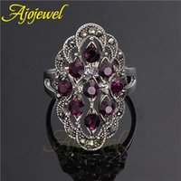Cheap Size 7-9 New Arrival Jewelry Vintage 18K White Gold Plated Red Black Stone Ring