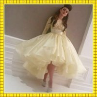 Wholesale 2015 Tea Length Short Prom Dresses Ball Gowns High Quality Organza With Lace Appliques Sheer Long Sleeve Girls Party Dress Prom Pageant Gown