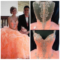 beautiful train pictures - 2016 Beautiful Princess Ball Gown Quinceanera Dresses Spaghetti Straps Rhinestones Beaded Prom Gowns Ruffles Puffy Party Dress