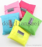 Wholesale 50pc Candy Color Foldable Waterproof Storage Eco Reusable Shopping Tote Bags J118