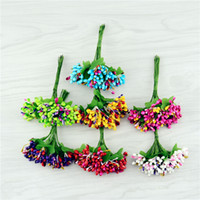 artificial red berries - Artificial Flowers Color Bud Stamen Berry Bouquet For Wedding Decoration Handmade Scrapbooking Box Flowers