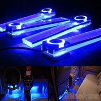 Wholesale 4 In V Blue Car Decorative Atmosphere Lamp Charge LED Interior Floor Decoration Lights V1C