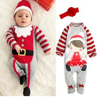 Best for 1-4T/years old big sant - 2016 Christmas New Year infant set Long sleeved Romper jumpsuit hat cute baby rompers boys sant hats girls big flower headband