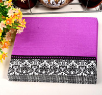Wholesale 330MMX330MM colored facial tissue paper napkin paper printing handkerchiefs for wedding birthday favors purple black flowers
