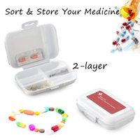 Wholesale 1 Pc Moisture proof Multi function Box Double layer Eight grid Medical Pill Storage Box Random Color Delivery
