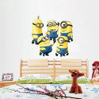 Wholesale HOT Cartoon Despicable Me Minions Wall Stickers Removable Home Decor Decals Sticker Wallpaper Christmas Room Party Decoration Wall Paper