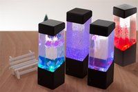 Wholesale LED MINI Jelly Fish aquarium Mood Warm Table Lamps for your Bed Room Foyer Study everwhere you want