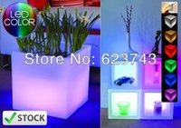 Wholesale Glowing Magic cube flower pot Remote color changing RGB LED Ice bucket led vase LED beer barrel LED Cube BY EMS