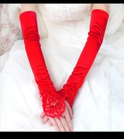 Wholesale Cheapest Long Red Bridal Gloves Lace Sequined Above Elbow Length Wedding Accessoires Bride Glove