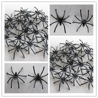 Wholesale 20pc Bags Halloween Horror Prop mm Cute Black Spider Plush Puppet Toy Ornaments aQHj