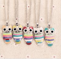 Wholesale 5 color Ladies Vintage Owl Pendant Necklace New Lovely Candy color Statement Necklaces Girl s Fashion Jewelry Silver Big Eyes Owl Charms