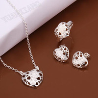 Wholesale fashion jewelry sterling silver heart shaped pendant necklace fine hollow three sets