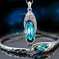 Wholesale Fashion Platinum Gold Plated Chain Fit Luxury Austrian Crystal Pendant Necklace Bangle Bracelet Jewelry Set for women