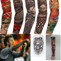 Wholesale Punk Fake new mixed Nylon elastic Fake temporary tattoo sleeve designs body Arm stockings tatoo for cool men women