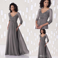 bead pictures - Top Selling Mother of the Bride Dresses Gray V Neck Half Sleeves Chiffon Floor Length Beading Plus Size Formal Dresses