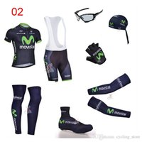 Wholesale Movistar Cycling Jersey Sets Balck Short Sleeve With Padded Bib None Bib Pants Cycling Jerseys Seven Pieces Road Cycling Skinsuit XS XL