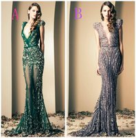 Wholesale 2015 Ziad Nakad Luxury Mermaid Evening Gowns Prom Dresses Vintage Plunging Beaded Appliques Floor Length Sleeveless Evening Dresses Hot Sale