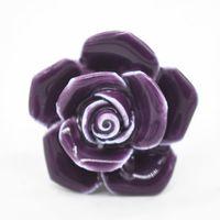 Wholesale 5 colors ceramic porcelain cupboard door knob drawer pull cabinet handle Rose Flower Wardrobe Door Handle Pull X60 JJ1037W